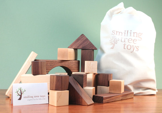 Personalized deluxe 30-piece hardwood block set by Smiling Tree Toys