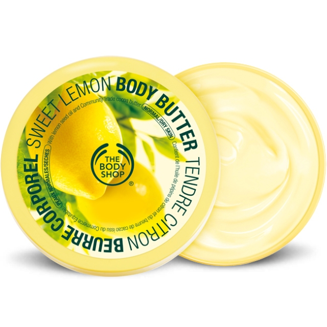 Sweet Lemon Body Butter by The Body Shop. This was a gift and sat in my to-be-used-someday drawer of bath and body products for a long time. I brought it out when my expanding belly was itching one day, and just finished the tub up today. (Not to worry, another tub has been ordered and is on the way - it is on sale!)  It moisturizes well, and isn't too stinky. It smells like Bee Balm, which I love. (Image from www. thebodyshop-usa.com.)