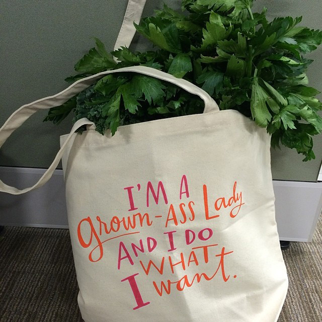 I'm probably not cheeky enough to carry this tote, but it cracks me up.