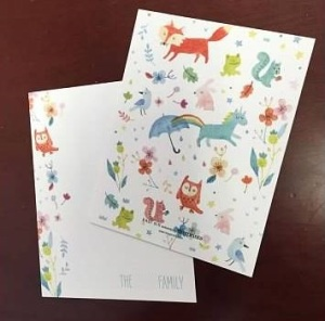 Unicorny.  This is the Animal Tale stationery from Tiny Prints.