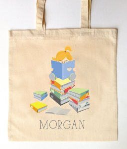 Little Reader Bookworm Library Tote by SixpencePress.