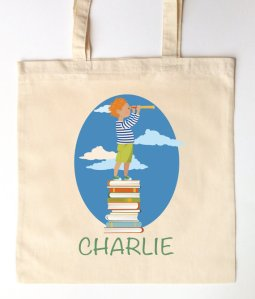 Little Boy Explorer Library Tote by SixpencePress. Click on image for link.