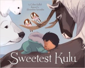 Bedtime poem by Inuit throat-singer and author describes the gifts given to a new baby by Arctic animals. By Celina Kalluk Illustrated by Alexandria Neonakis Ages 2-3